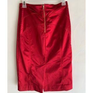 Bebe red satin sexy skirt